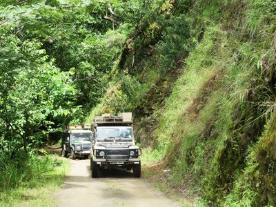 Our land rovers crawl up the narrow road to Livingstonia, near Lake Malawi