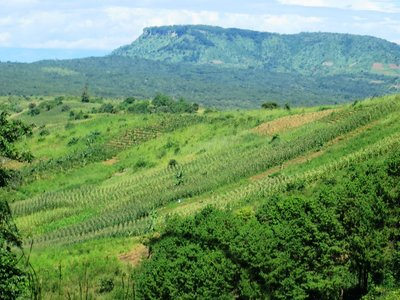 View across the escarpment from the cafe in Livingstonia, Malawi