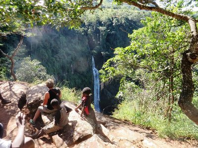 Some of our tour guides at Manchewe Falls, Livingstonia, Malawi