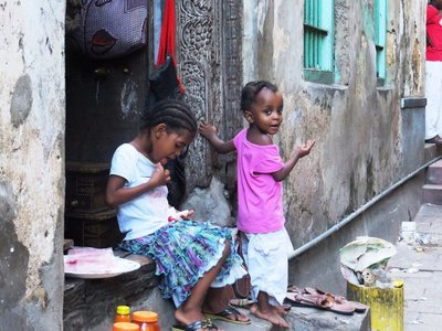 Children in the narrow streets of old Stone Town, Zanzibar
