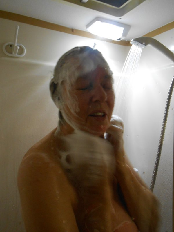 Shower in our caravan