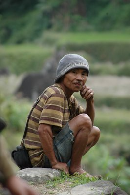 Old man in rice terrace North Luzon