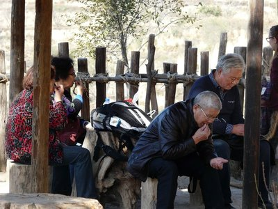 People eating at Zhangbi Ancient fortress