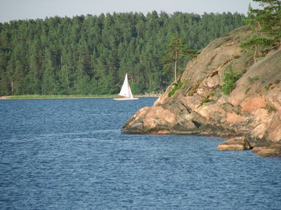 Taking a ferry to Åland. A sight between the islands.