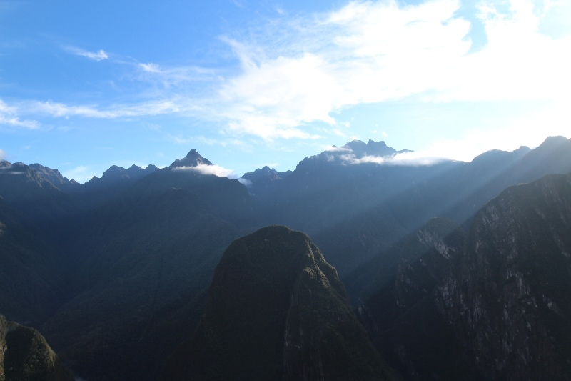 Sunrays beaming over the mountains