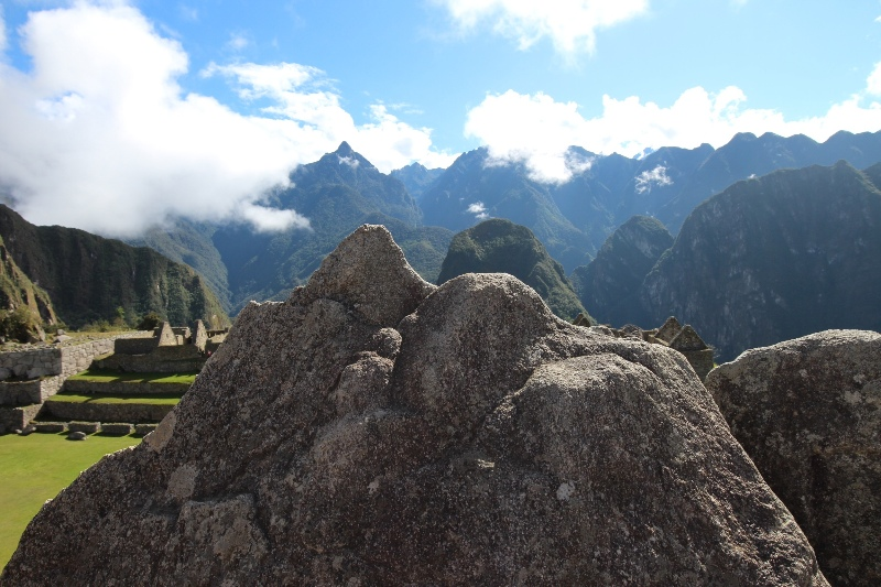 Stones modeled to match the distant mountains