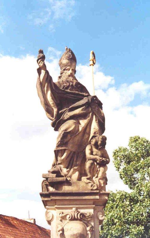 A statue of a bishop on Charles Bridge, Prague