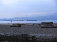 Freighters waiting in Burrard Inlet in Vancouver