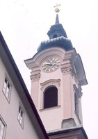 St Sebastian Church belltower in Salzburg Austria