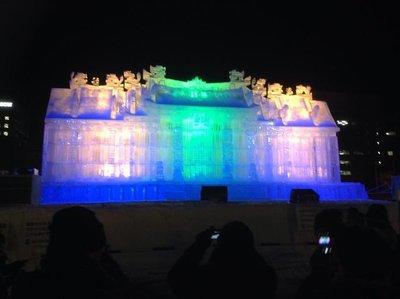 Illumination on an ice/snow sculpture @Odori Park site