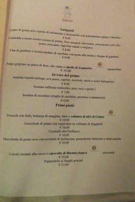 Puglia Perbacco menu