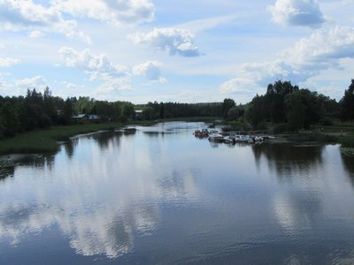 View of the river on the other side of the bridge from Porvoo