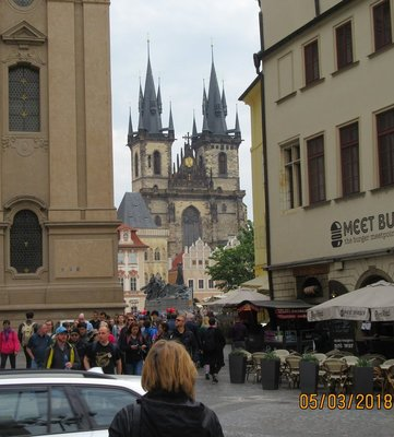 St Nicholas Church and crowds entering the Old Town Square