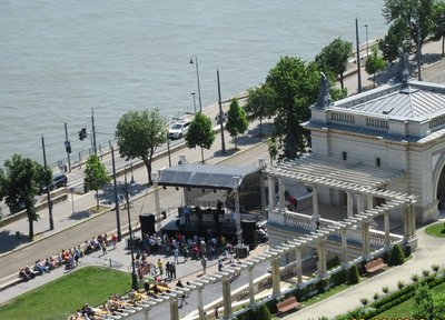 Concert of traditional Hungarian music at bandshell on the shore of the Danube