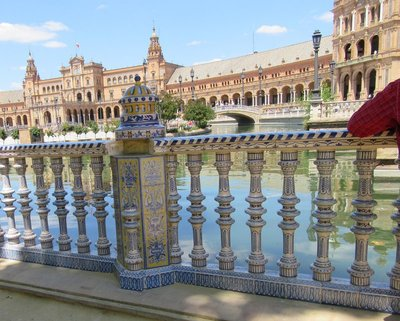 The balustrade along the walkway is covered in ceramics