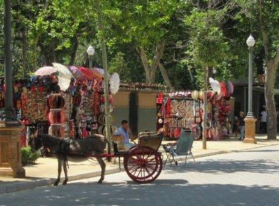A donkey cart awaits a passenger