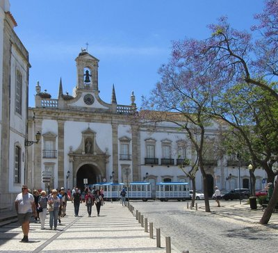 Building in Faro with bell tower