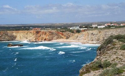 The beach in the bay between Cape Sagres and Cape St. Vincent - waves coming in off the Atlantic