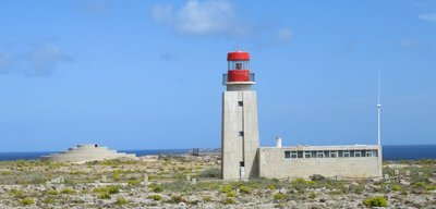 The lighthouse and a military installation