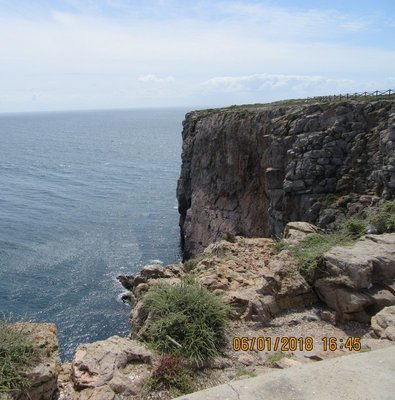 The cliff that we were walking on as it meets the ocean