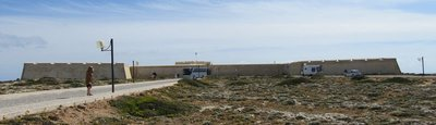 This is a picture of the fort-like welcome centre.  We wished the buses were not in front of it.