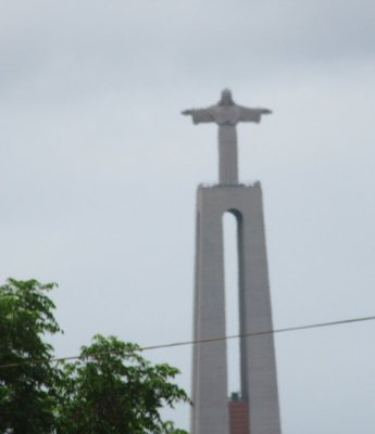 This is the Cristo Rei or Christ the King statue on the south bank of the Tagus River