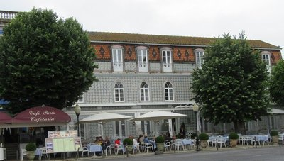Tile-covered building