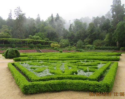 The formal gardens near the information office