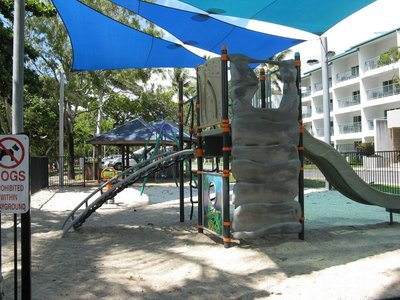 Children's play area by beach