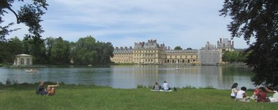 "A picture taken from the opposite side of the ""Carp Pond"" to show the back of the chateau"