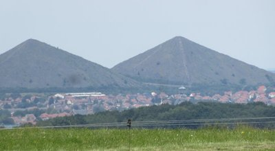 Two of the slag heaps from the coal mines
