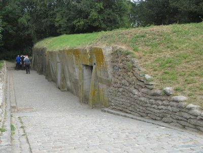 Exterior of bunker built in a canal bank
