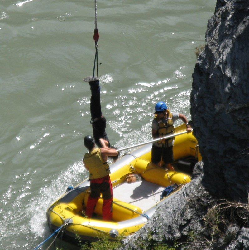 Jumper caught by rescue boat