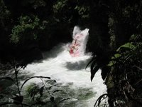 Raft coming down Okere Falls
