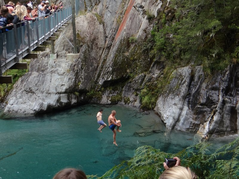 Jumping in a stream of Makarora River
