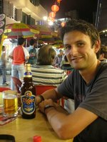 me enjoying a giant tiger beer Singapore