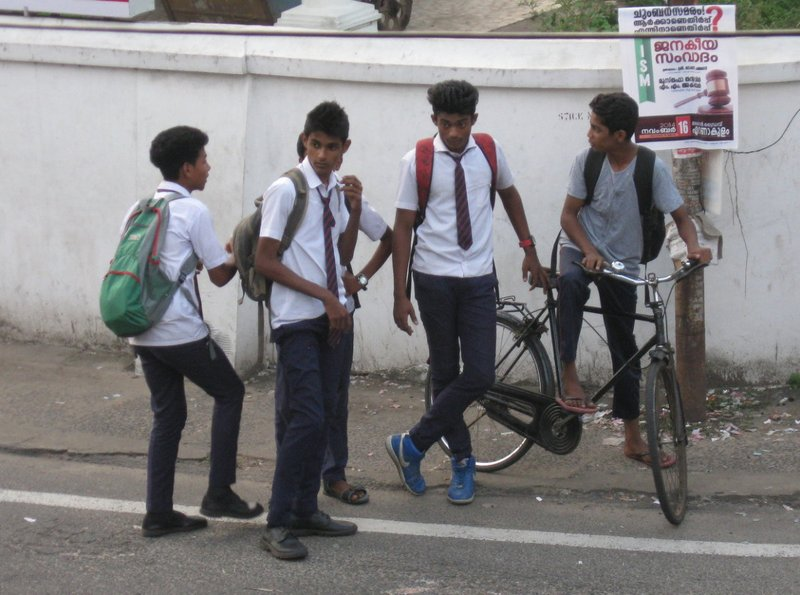 School Boys on Corner