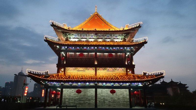Cycling round Xian city walls
