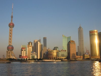 Shanghai - View across the Bund and river to Pudong side