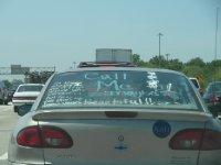 Message on car window, near Madison, Wisconsin