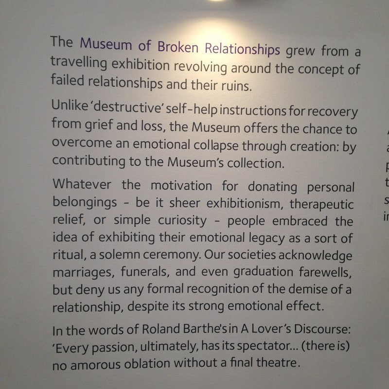The background to the Museum of Broken Relationships