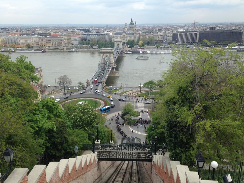 Images of Budapest - looking down from the Funicular to the Chain Bridge