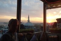The sun setting over the Sea of Marmara - from our roof top restaurant in Istanbul