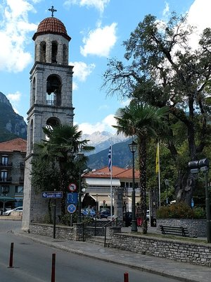 Mount Olympos as seen from the main square in Litchoro
