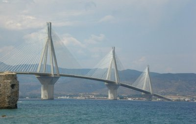 Rio–Antirrio Bridge spanning the Gulf of Corinth at Patras. - stock photo