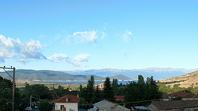 View of the Prespa Lakes from our hotel room. Albania is on the left, and FYROM on the right.