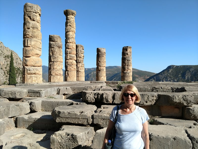 The Temple of Apollo, Delphi. Arleen is channeling the exact spot where the Pythia/witch would speak incoherently and mumble ambiguous prophecies no one could understand. I'm just sayin'.