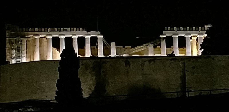 The Parthenon at night from our hotel room.