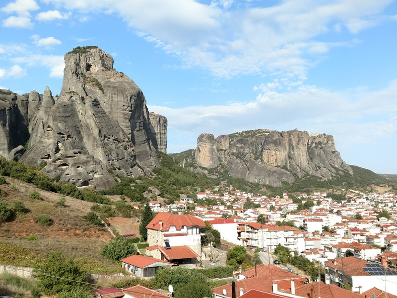 Town of Kalambaka and the Meteora rock formations as seen from our hotel.