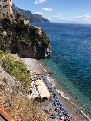 looking down to coastline from Ravello, Amalfi Coast.